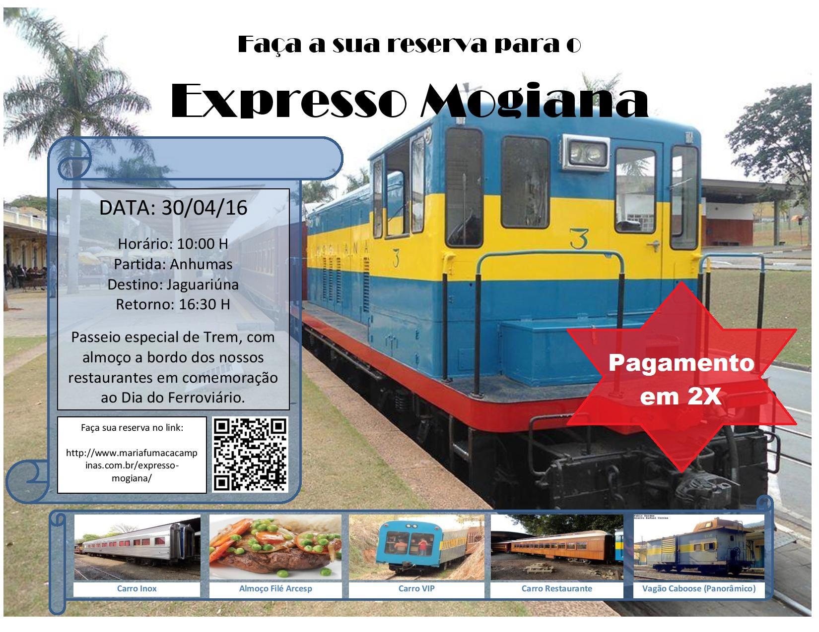 Compre já seu ingresso para o Expresso Mogiana